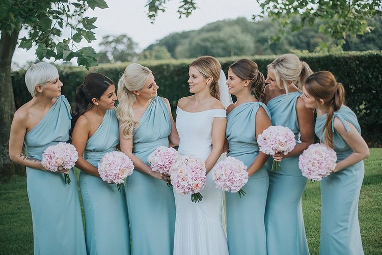 Bridal Party | Bridesmaids in Mint Green One Shoulder Vivie-Grace by Jayde Spicer | Bride in Suzanne Neville Bardot Nouveau Wedding Dress | Pastel Pink & Mint Green Wedding at Granary Estates Suffolk | Julia & You Photography