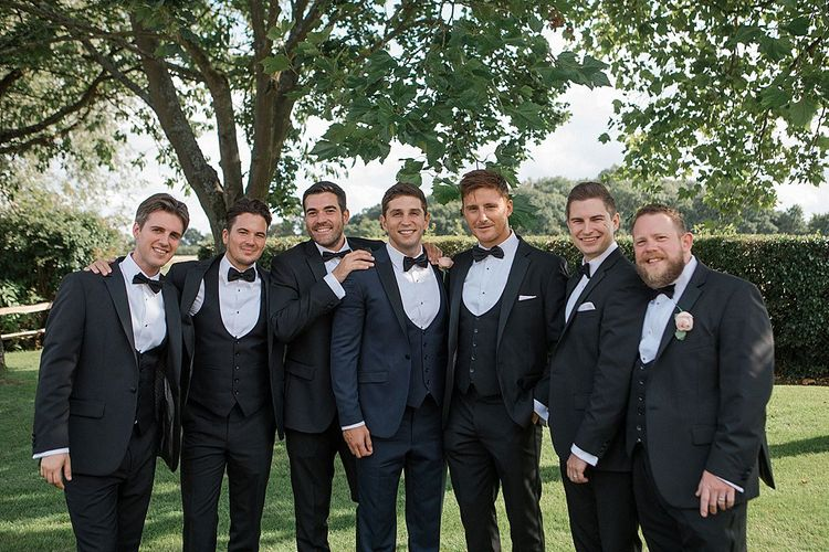 Groomsmen in Black Tie Suits | Pastel Pink & Mint Green Wedding at Granary Estates Suffolk | Julia & You Photography