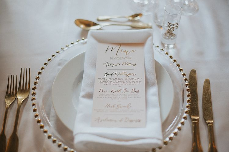 Gold Foil Menu Card on Platter | Place Setting | Pastel Pink & Mint Green Wedding at Granary Estates Suffolk | Julia & You Photography