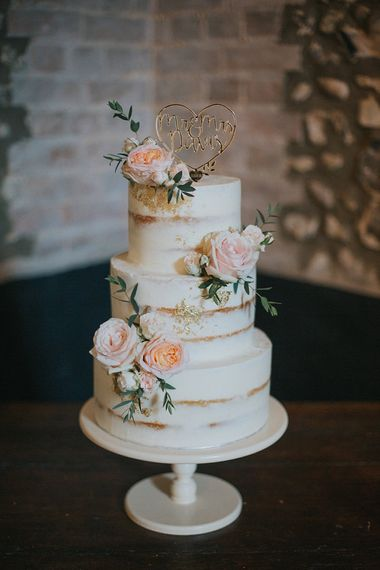 Semi Naked Wedding Cake with Blush Pink Rose Decor | Pastel Pink & Mint Green Wedding at Granary Estates Suffolk | Julia & You Photography