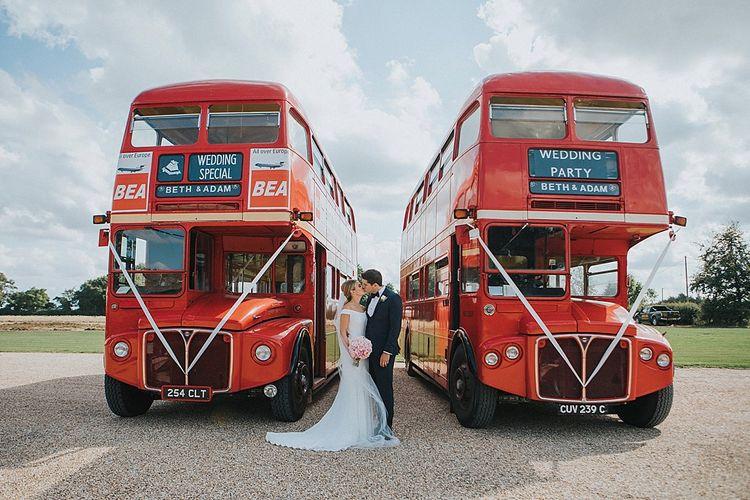 Double Decker London Buses Wedding Transport | Pastel Pink & Mint Green Wedding at Granary Estates Suffolk | Julia & You Photography