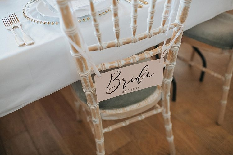 Gold Foil Bride Chair Back Decor | Pastel Pink & Mint Green Wedding at Granary Estates Suffolk | Julia & You Photography