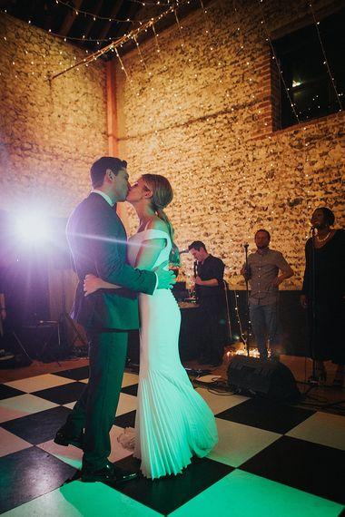 First Dance | Bride in Suzanne Neville Bardot Nouveau Wedding Dress | Groom in Black Tie | Pastel Pink & Mint Green Wedding at Granary Estates Suffolk | Julia & You Photography