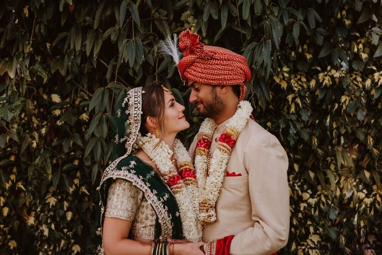 Portrait of Bride and Groom in traditional Indian dress