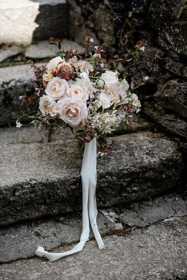 Pale Pick Rose Bridal Bouquet by The Garden Gate Flower Company   Outdoor Cornish Wedding at Boconnoc Estate   Nick Walker Photography