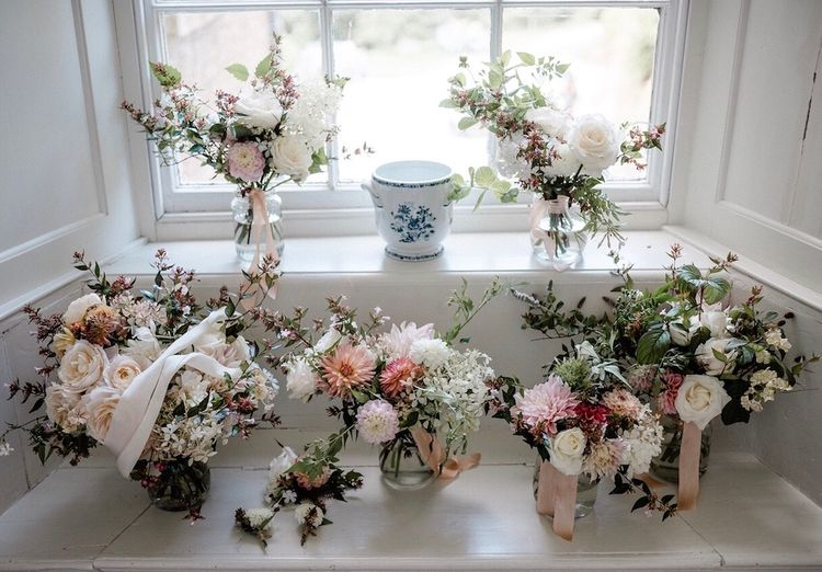 Pale Pink Bridal Bouquets Wedding Flowers by The Garden Gate Flower Company   Outdoor Cornish Wedding at Boconnoc Estate   Nick Walker Photography
