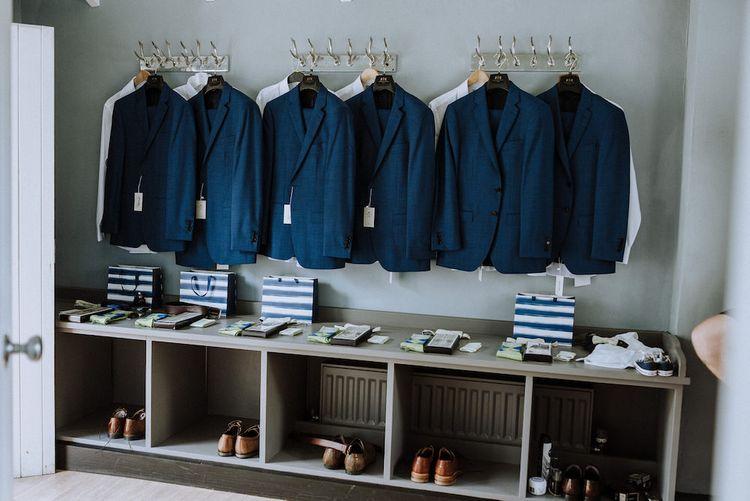 Groomsmen Navy Hawes and Curtis Suit   Outdoor Cornish Wedding at Boconnoc Estate   Nick Walker Photography