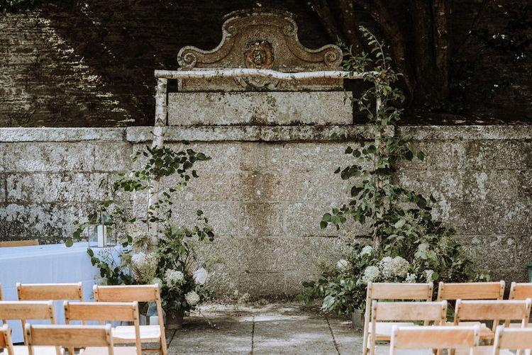 Outdoor Cornish Wedding at victorian Bathhouse   Outdoor Wedding Ceremony Altar at Boconnoc Estate, Cornwall   Nick Walker Photography