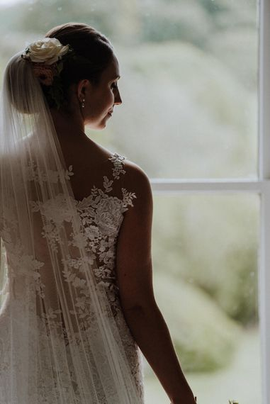 Bride in Lace Back Pronovias Wedding Dress   Outdoor Cornish Wedding at Boconnoc Estate   Nick Walker Photography