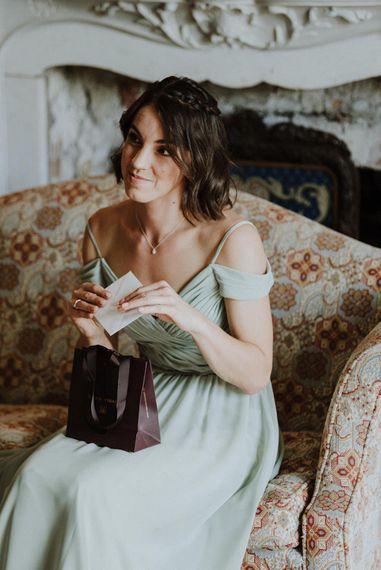 Bridesmaid in Mint Green Sorella Vita Cold Shoulder Dress   Outdoor Cornish Wedding at Boconnoc Estate   Nick Walker Photography