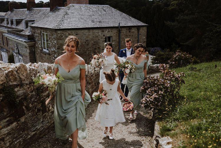 Bridal Party   Bridesmaids in Mint Green Sorella Vita Cold Shoulder Dresses   Bride in Lace Back Pronovias Wedding Dress   Outdoor Cornish Wedding at Boconnoc Estate   Nick Walker Photography