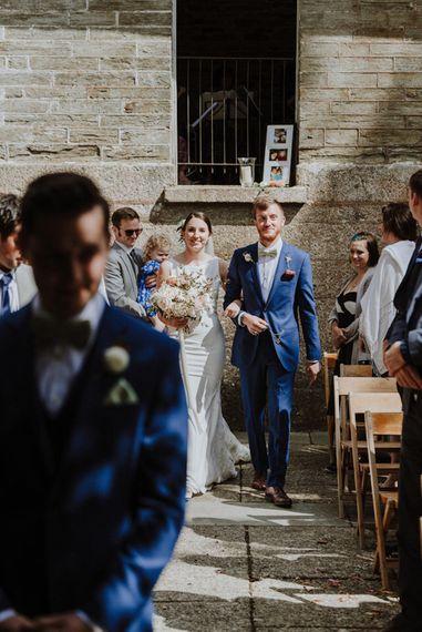 Wedding Ceremony Bridal Entrance in Lace Back Pronovias Wedding Dress   Outdoor Cornish Wedding at Boconnoc Estate   Nick Walker Photography