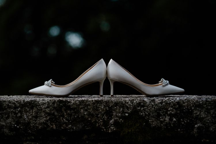 Jimmy Choo Jewel Encrusted Bridal Shoes   Outdoor Cornish Wedding at Boconnoc Estate   Nick Walker Photography
