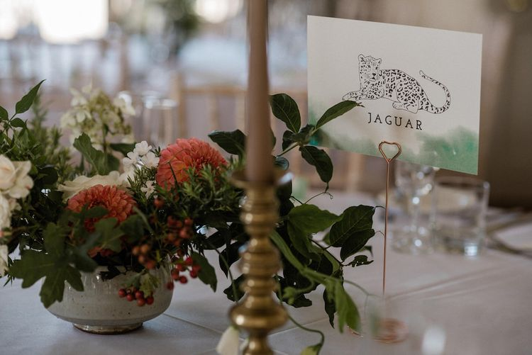 Table Name Animal Illustrations by Dearly Beloved Wedding Stationery Designs   Outdoor Cornish Wedding at Boconnoc Estate   Nick Walker Photography
