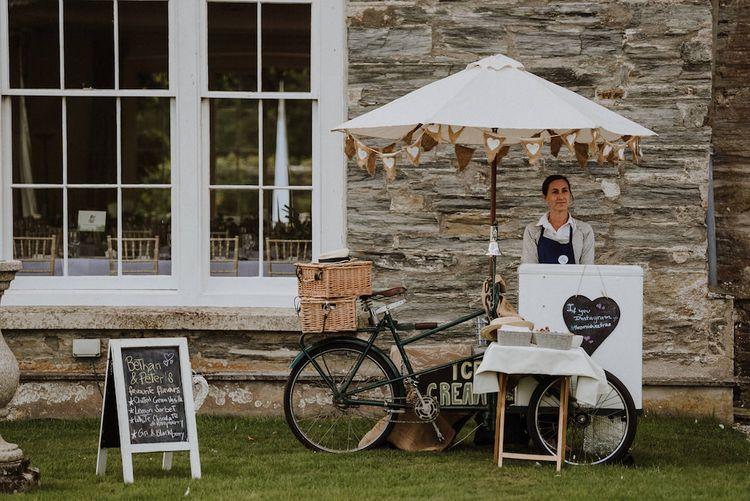 Ice-Cream Trike Wedding Favours   Outdoor Cornish Wedding at Boconnoc Estate   Nick Walker Photography