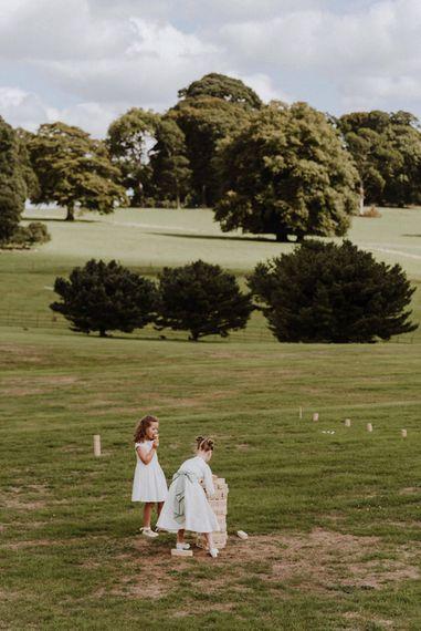 Giant Jenga Wedding Garden Game s  Outdoor Cornish Wedding at Boconnoc Estate   Nick Walker Photography
