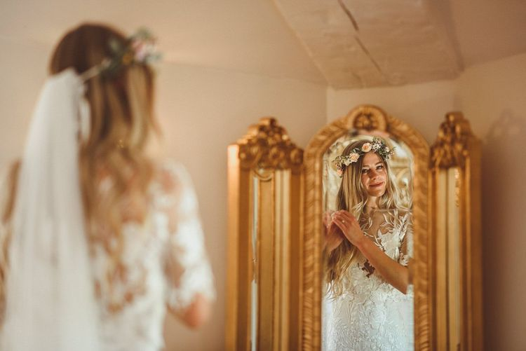 Bride Wearing Flower Crown And Bespoke Lace Dress