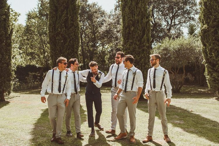 Groomsmen In Braces and Chinos