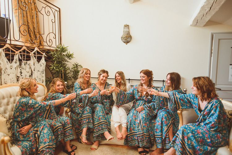 Bridal Party Toast The Day In  Getting Ready Robes