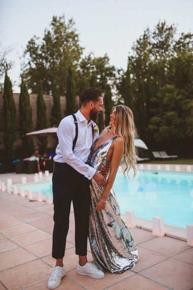 Bride In Silver Sequin Wedding Dress