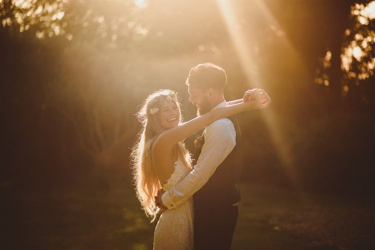 Sunset Couple Portrait With Bride In Flower Crown