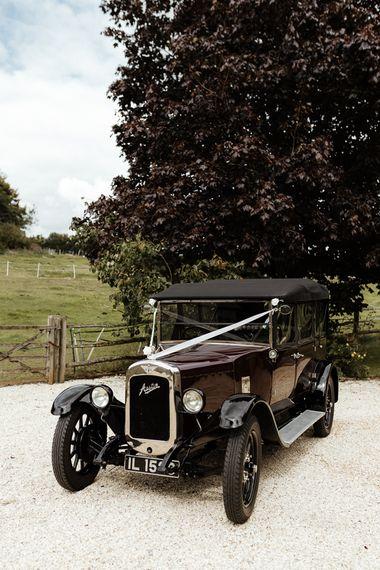 Classic vintage wedding car