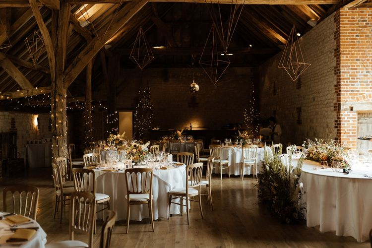 Bury Court Barn reception with DIY hanging Geometric decor