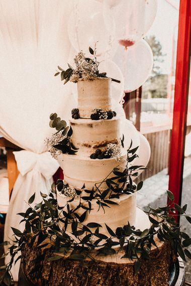 Semi Naked Buttercream Wedding Cake / Glamorous Wedding At Riverdale Barn Northern Ireland With Bride In Fitted Pronovias Gown And Bridesmaids In Charcoal Grey TwoBirds Dresses Images From Carla Blain Photography