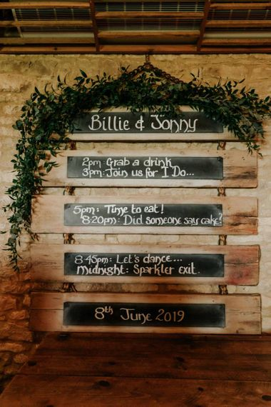 Order Of The Day Wedding Sign At Tythe Barn