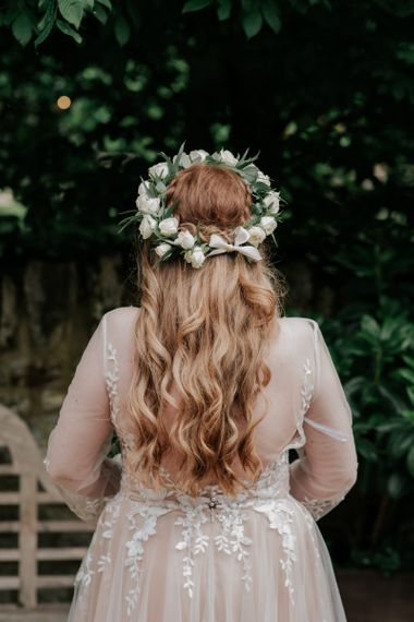 Flower Crown For Hair Down Bride In Pink Wedding Dress