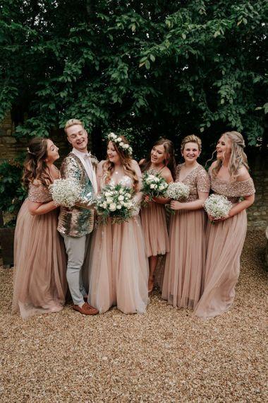 Pink Bridesmaid Dresses and Brides-man Suit