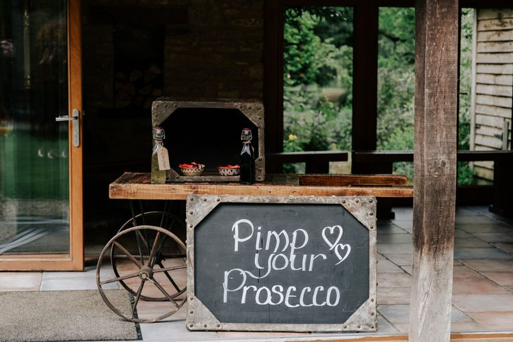 Pimp Your Prosecco Station At Country Wedding