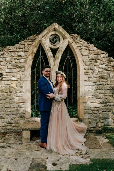 Bride In Pink Wedding Dress With Flower Crown