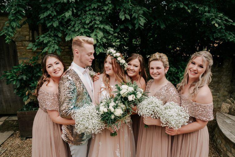 Pink Wedding Dress With Blush Bridesmaids