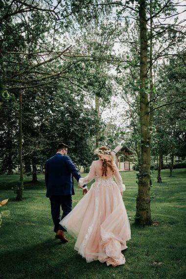 Blush Pink Wedding Dress With Flowercrown