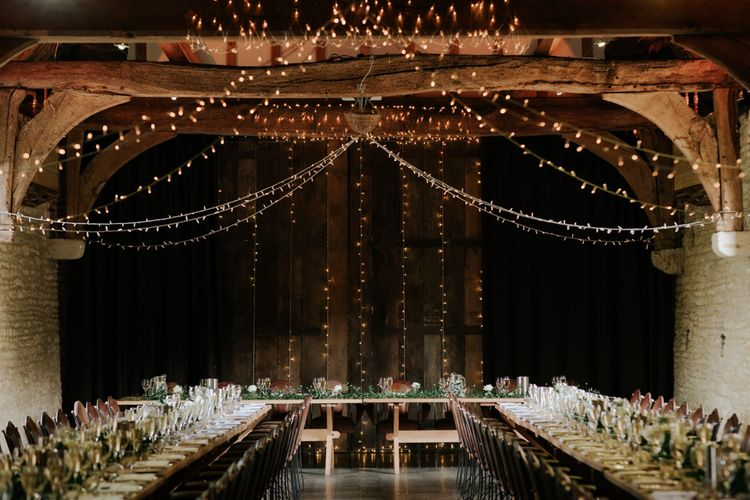 Wedding Lighting For Reception In Barn