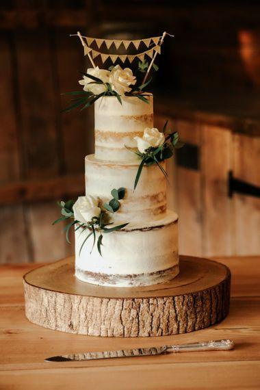 Semi-Naked Wedding Cake With Flower Decor