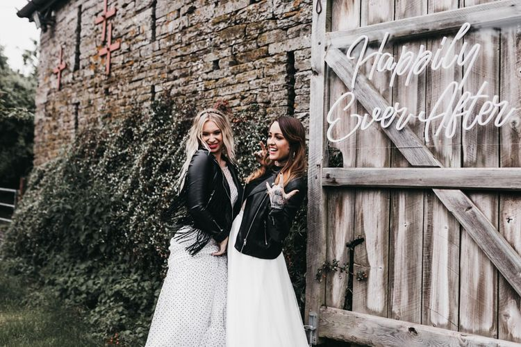 Rock n Roll brides in black and white wedding dress, separates and leather jackets