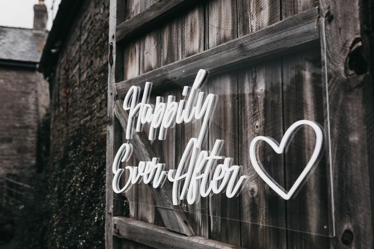Happily ever after white neon wedding sign