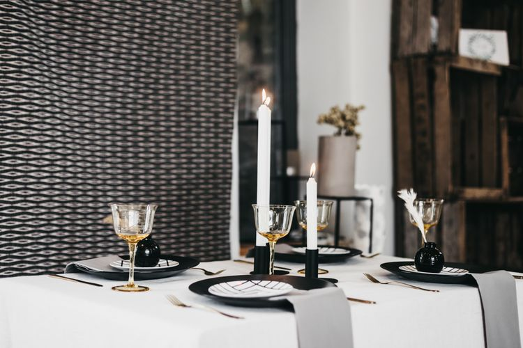 Black, white, grey and gold wedding table decor