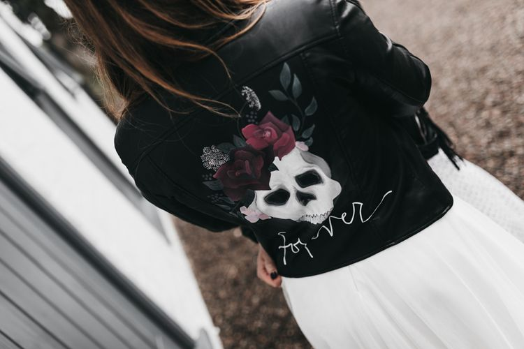 Leather jacket with skull print on the back