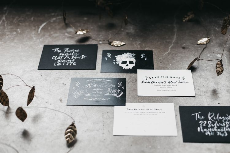 Black and white wedding stationery suite