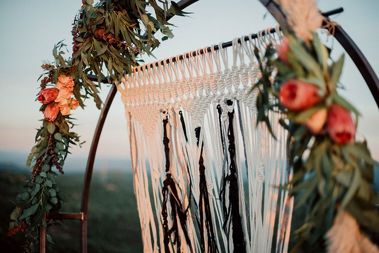 Steel Moon Gated Decorated with Flowers and Macrame