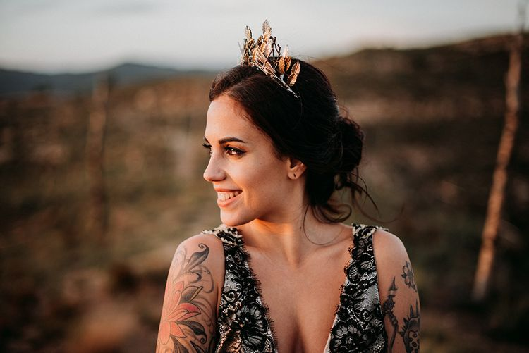 Alternative Bride in Black Wedding Dress and Gold Crown Headdress