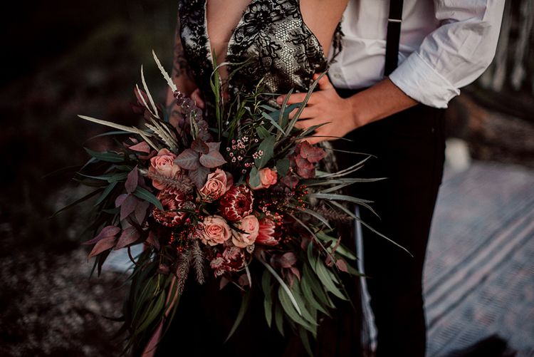 Deep Red and Foliage Wedding Bouquet with Proteas and Roses