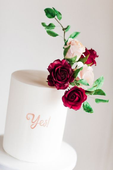 Monannie Celebration Cake with Rosehip London Floral Decor | Blush Pink Opulent London Engagement Party Inspiration Planned & Styled by Just Bespoke | Sanshine Photography