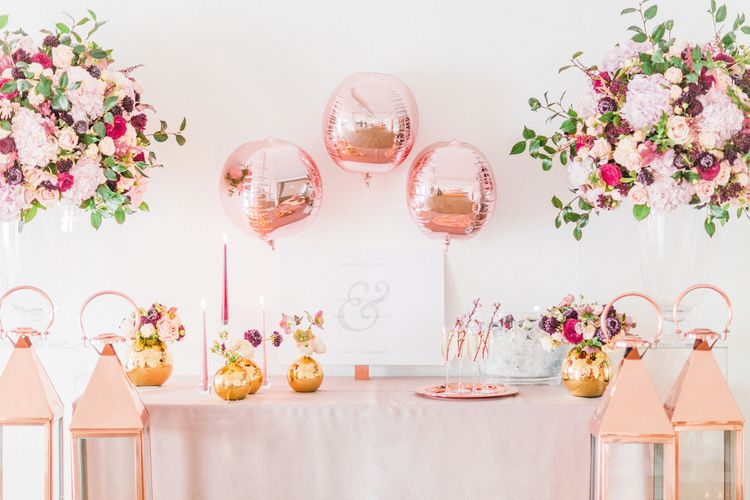 Georgina Read  Wedding Sign | Copper Foil Balloons | Rosehip London  Floral Arrangements | Blush Pink Opulent London Engagement Party Inspiration Planned & Styled by Just Bespoke | Sanshine Photography