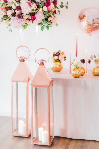 Copper Lanterns & Floral Arrangements | Blush Pink Opulent London Engagement Party Inspiration Planned & Styled by Just Bespoke | Sanshine Photography