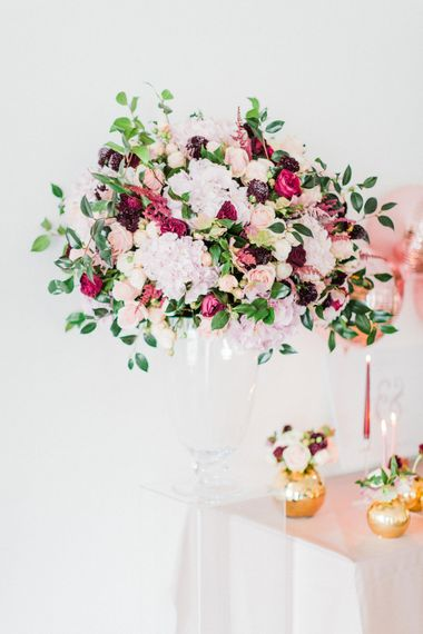 Red, Pink & White Rosehip London Flower Arrangement | Blush Pink Opulent London Engagement Party Inspiration Planned & Styled by Just Bespoke | Sanshine Photography