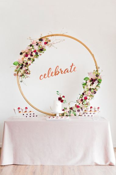 Cake Table with Celebrate Floral Hoop Backdrop | Monannie Cake & Treats | Blush Pink Opulent London Engagement Party Inspiration Planned & Styled by Just Bespoke | Sanshine Photography